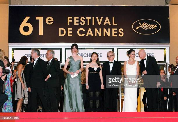 AP OUT Rebecca Hall Woody Allen his wife SoonYi Previn and Penelope Cruz attend the premiere for Woody Allen's Vicky Cristina Barcelona at the 61st...