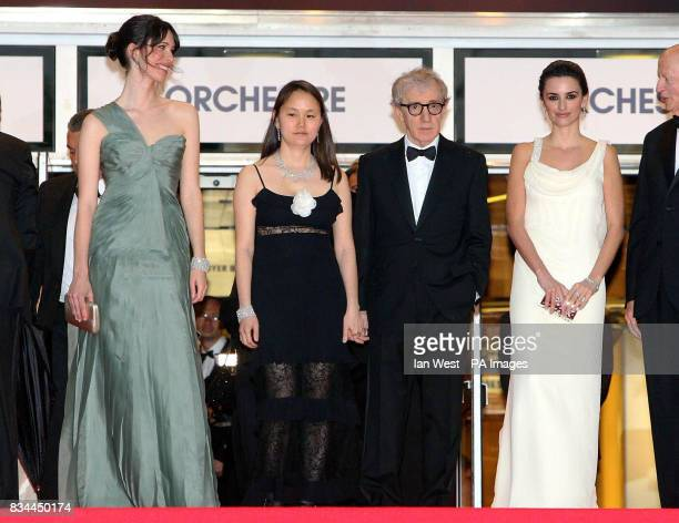 AP OUT Rebecca HallWoody Allen and his wife SoonYi Previn and Penelope Cruz attend the premiere for Woody Allen's Vicky Cristina Barcelona at the...