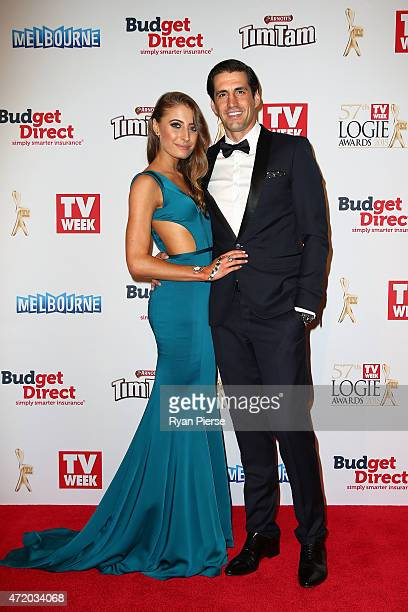 Rebecca Harding and Andy Lee arrive at the 57th Annual Logie Awards at Crown Palladium on May 3 2015 in Melbourne Australia