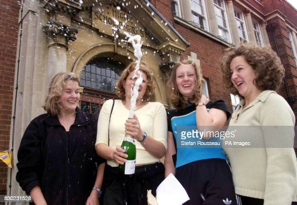 Rebecca Heaviside Katy Elsip Gemma Fussell and Tracey Hughs from Chelmsford High School for Girls in Essex celebrate their ALevel exam results