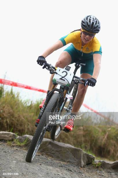 Rebecca Henderson of Australia in action during the Women's Cross Country Mountain Biking at Cathkin Braes Mountain Bike Trails during day six of the...