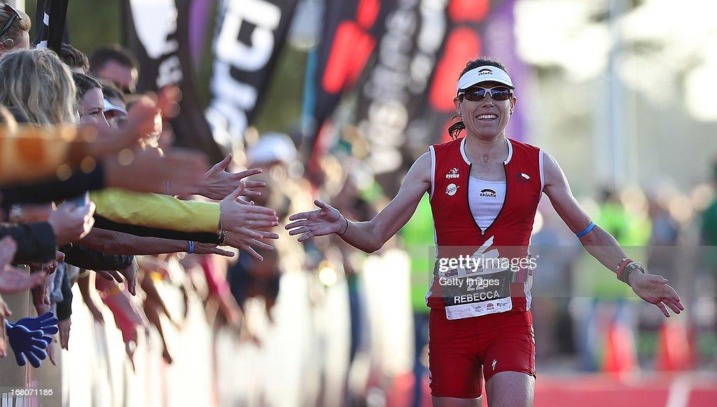 Rebecca Hoschke of Australia wins the womens at the Port Macquarie round of the 2013 Ironman Australia series on May 5, 2013 in Port Macquarie, Australia.
