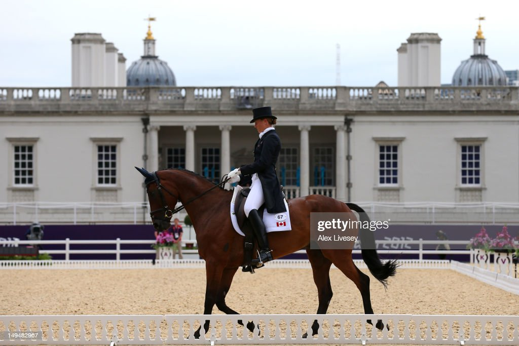 Rebecca Howard of Canada riding Riddle Master competes in the Dressage Equestrian event on Day 2 of the London 2012 Olympic Games at Greenwich Park on July 29, 2012 in London, England.