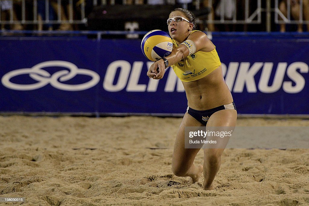 Rebecca in action during a beach volleyball match as part of the 6th stage of the season 2012/2013 Circuit Bank of Brazil at Copacabana Beach on December 08, 2012 in Rio de Janeiro, Brazil.
