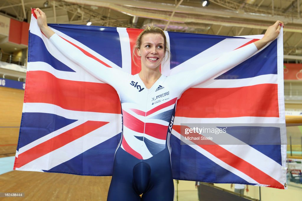 Rebecca James of Great Britain celebrates winning gold in the women's sprint final during day four of the UCI Track World Championships at Minsk Arena on February 23, 2013 in Minsk, Belarus.