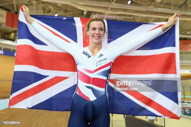 Rebecca James of Great Britain celebrates winning gold in the women's sprint final during day four of the UCI Track World Championships at Minsk...