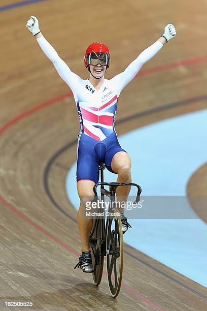 Rebecca James of Great Britain celebrates winning gold in the women's keirin final on day five of the 2013 UCI Track World Championships at the Minsk...