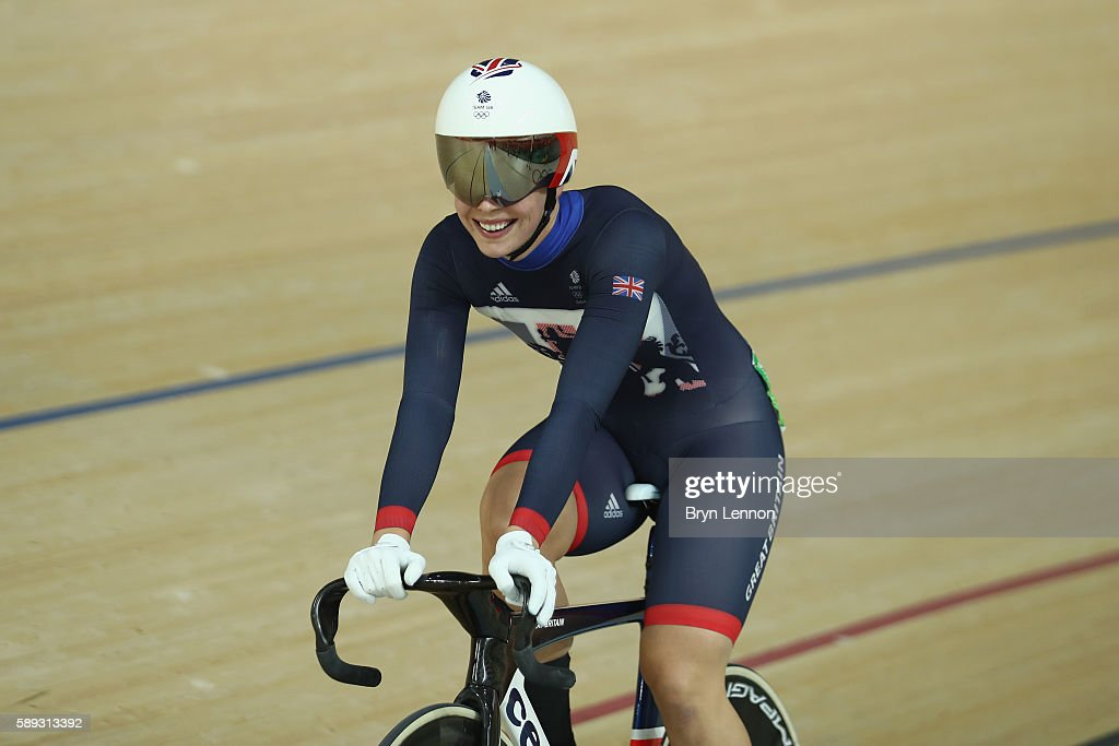 Rebecca James of Great Britain celebrates winning the silver medal in the during the Women's Keirin Final on Day 8 of the Rio 2016 Olympic Games at the Rio Olympic Velodrome on August 13, 2016 in Rio de Janeiro, Brazil.