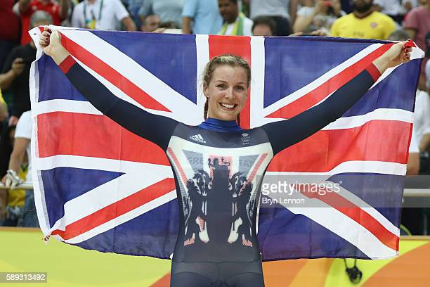 Rebecca James of Great Britain celebrates winning the silver medal in the during the Women's Keirin Final on Day 8 of the Rio 2016 Olympic Games at...