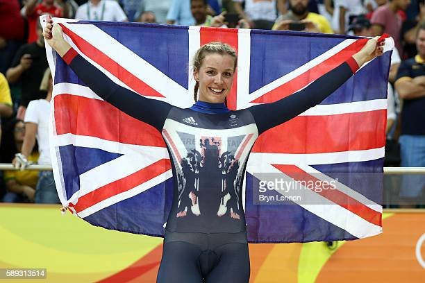 Rebecca James of Great Britain celebrates winning the silver medal in the Women's Keirin Final on Day 8 of the Rio 2016 Olympic Games at the Rio...