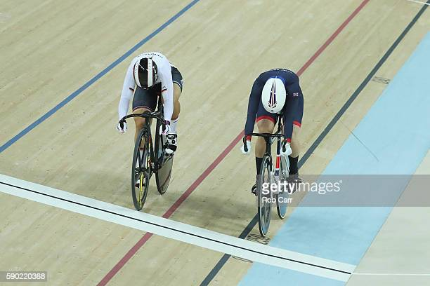 Rebecca James of Great Britain competes against Kristina Vogel of Germany during the Women's Sprint Finals gold medal race on Day 11 of the Rio 2016...