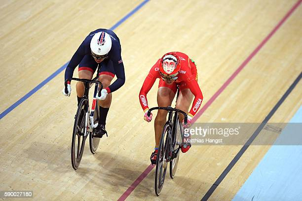 Rebecca James of Great Britain competes against Tianshi Zhong of China during a Women's Sprint Quarterfinal race on Day 11 of the Rio 2016 Olympic...