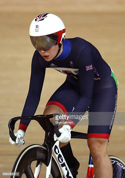Rebecca James of Great Britain competes during a Women's Sprint Quarterfinal race on Day 11 of the Rio 2016 Olympic Games at the Rio Olympic...
