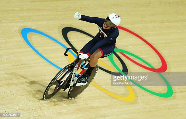 Rebecca James of Great Britain competes in the semi final of the Women's Sprint at Rio Olympic Velodrome on August 16 2016 in Rio de Janeiro Brazil