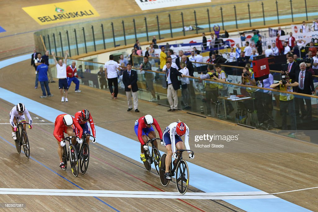 Rebecca James (R) of Great Britain crosses the finish line to win gold in the women's keirin final on day five of the 2013 UCI Track World Championships at the Minsk Arena on February 24, 2013 in Minsk, Belarus.