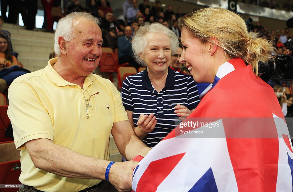 Rebecca James of Great Britain greets her grandparents Kathleen and Ioan James after winning her second gold medal in the Women's Keirin during day five of the 2013 UCI Track World Championships at the Minsk Arena on February 24, 2013 in Minsk, Belarus.