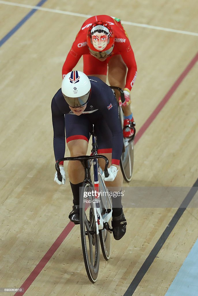 Rebecca James of Great Britain leads Tianshi Zhong of China during a Women's Sprint Quarterfinal race on Day 11 of the Rio 2016 Olympic Games at the Rio Olympic Velodrome on August 16, 2016 in Rio de Janeiro, Brazil.