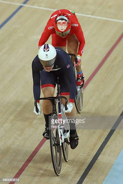 Rebecca James of Great Britain leads Tianshi Zhong of China during a Women's Sprint Quarterfinal race on Day 11 of the Rio 2016 Olympic Games at the...