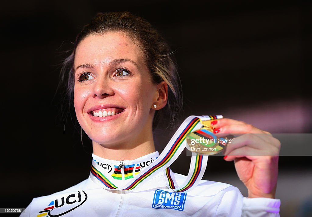 Rebecca James of Great Britain poses with her second gold medal after winning the Women's Keirin final on day five of the 2013 UCI Track World Championships at the Minsk Arena on February 24, 2013 in Minsk, Belarus.