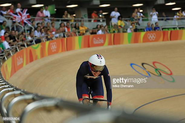 Rebecca James of Great Britain rides in the Women's Sprint Qualifications on Day 9 of the Rio 2016 Olympic Games at the Rio Olympic Velodrome on...