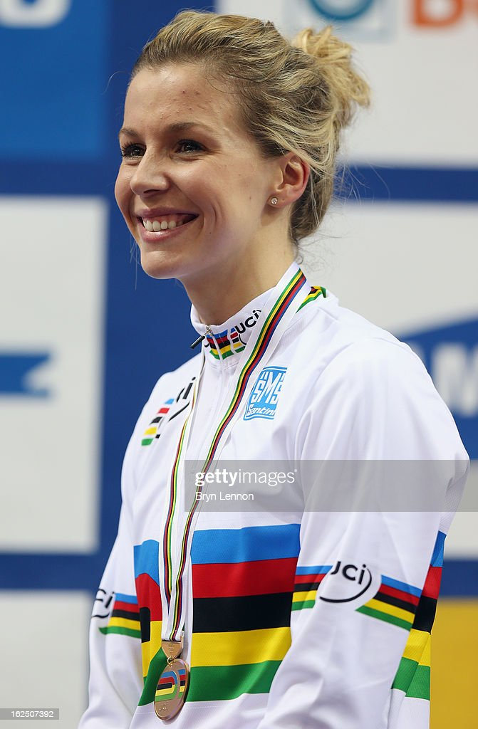 Rebecca James of Great Britain stands on the podium after winning her second gold medal after winning the Women's Keirin final on day five of the 2013 UCI Track World Championships at the Minsk Arena on February 24, 2013 in Minsk, Belarus.