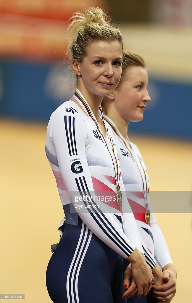 Rebecca James of Great Britain stands on the podium alongside team mate Victoria Williamson after finishing 3rd in the Women's Team Sprint during day one of the UCI Track World Championships at the Minsk Arena on February 20, 2013 in Minsk, Belarus.