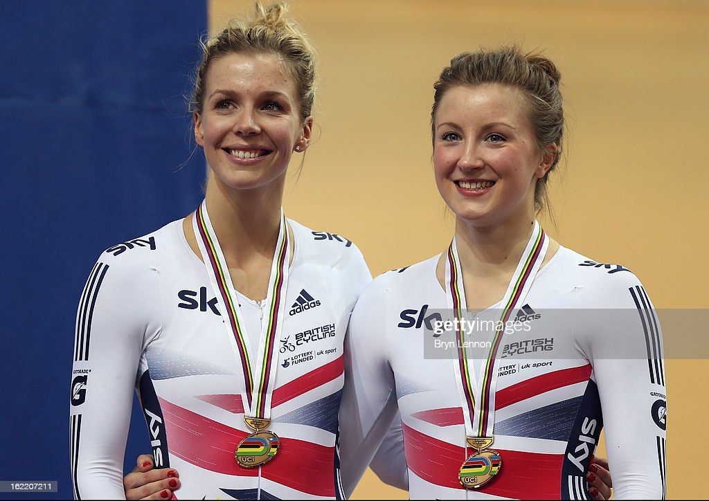 Rebecca James (l) of Great Britain stands on the podium alongside team mate Victoria Williamson after finishing 3rd in the Women's Team Sprint during day one of the UCI Track World Championships at the Minsk Arena on February 20, 2013 in Minsk, Belarus.