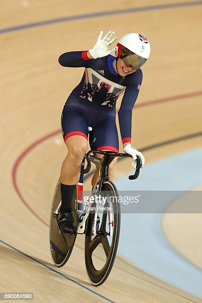 Rebecca James of Great Britain wins heat 1 against Tianshi Zhong of China during a Women's Sprint Quarterfinal race on Day 11 of the Rio 2016 Olympic...