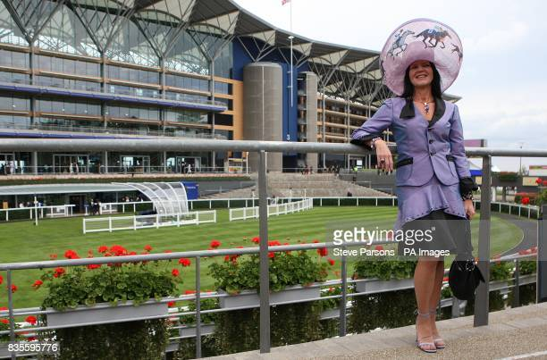 Rebecca Johnson who designed her own hat as part of a competition in association with the Starlight Childrens Foundation at Ascot Racecourse Berkshire