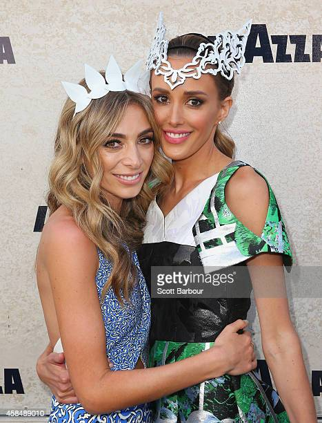 Rebecca Judd and Nadia Coppolino at the Lavazza Marquee on Oaks Day at Flemington Racecourse on November 6 2014 in Melbourne Australia