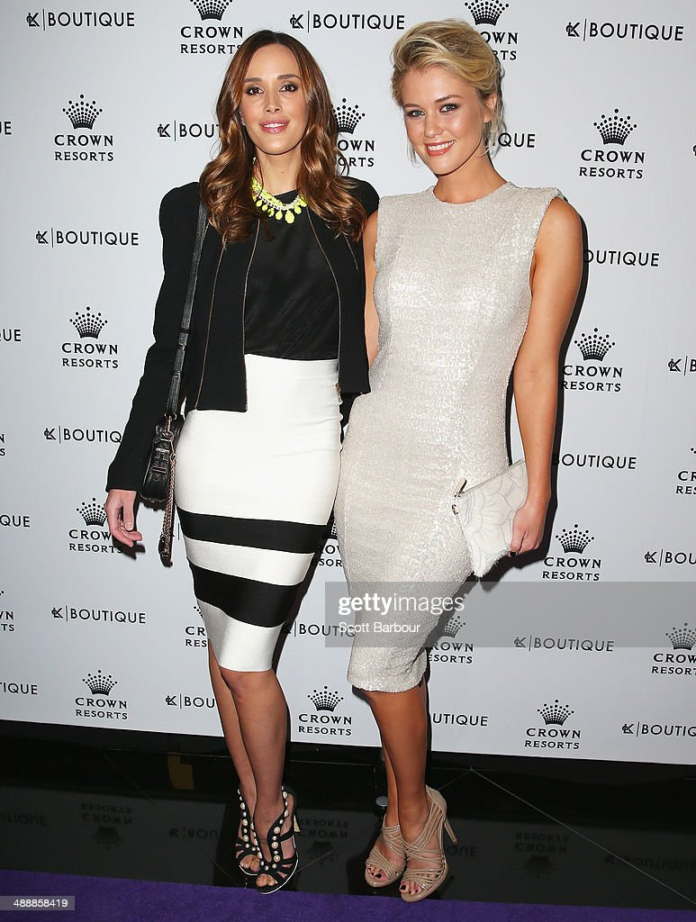 Rebecca Judd and Scherri-Lee Biggs arrive at Crown's Celebrity Mother's Day Luncheon at Crown on May 9, 2014 in Melbourne, Australia.