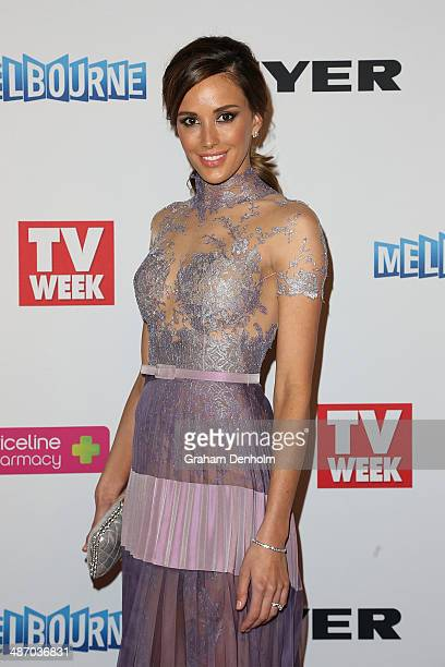 Rebecca Judd arrives at the 2014 Logie Awards at Crown Palladium on April 27 2014 in Melbourne Australia