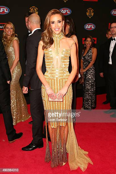 Rebecca Judd arrives at the 2015 Brownlow Medal at Crown Palladium on September 28 2015 in Melbourne Australia