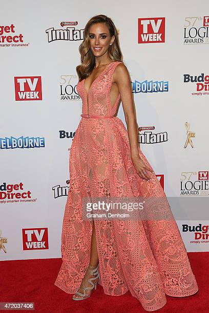 Rebecca Judd arrives at the 57th Annual Logie Awards at Crown Palladium on May 3 2015 in Melbourne Australia