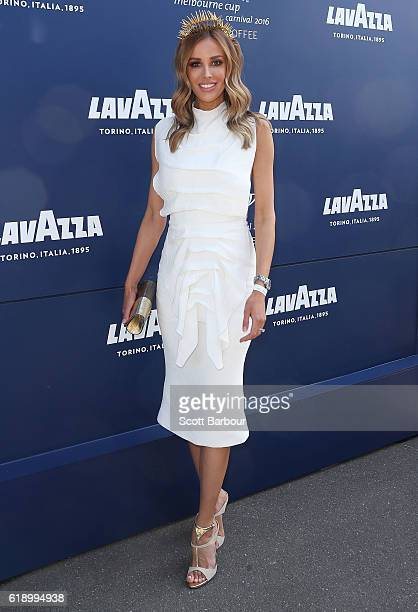 Rebecca Judd arrives at the Lavazza Marquee on Derby Day at Flemington Racecourse on October 29 2016 in Melbourne Australia