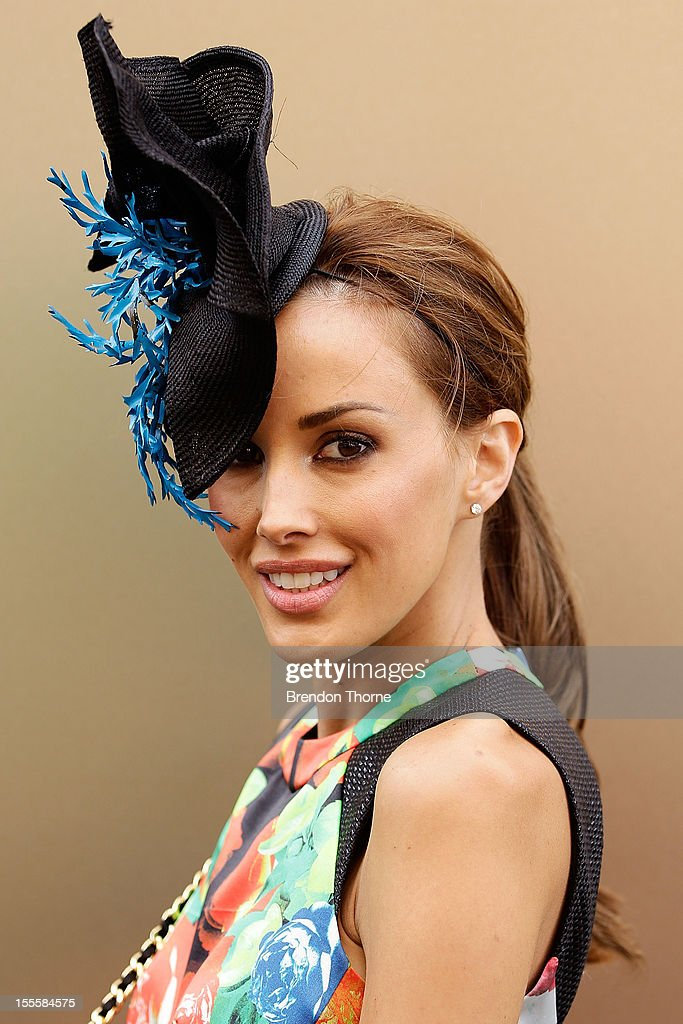 Rebecca Judd arrives at the Melbourne Cup at Flemington Racecourse on November 6, 2012 in Melbourne, Australia.