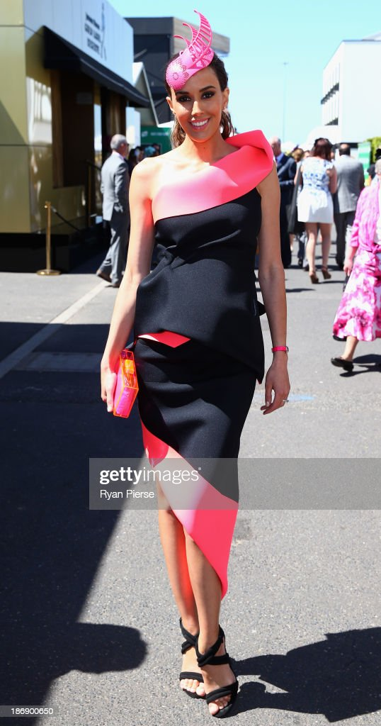 Rebecca Judd arrives during Melbourne Cup Day at Flemington Racecourse on November 5, 2013 in Melbourne, Australia.