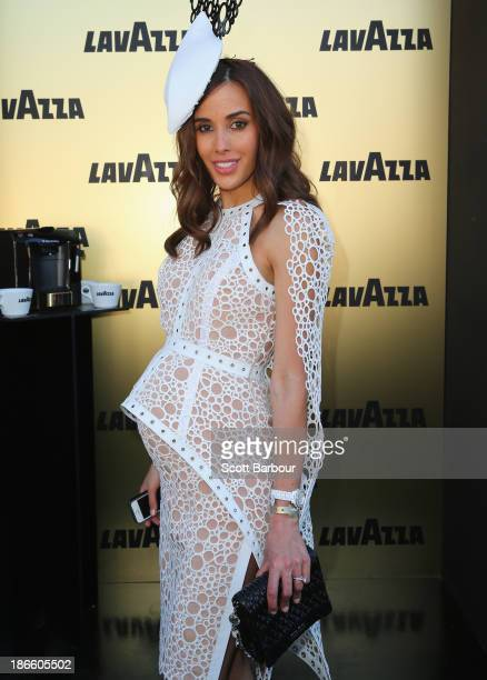 Rebecca Judd attends the Lavazza marquee on Victoria Derby Day at Flemington Racecourse on November 2 2013 in Melbourne Australia