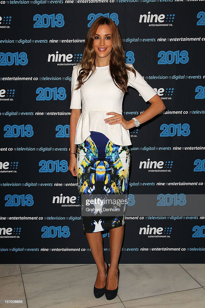 Rebecca Judd poses as she arrives at the Nine 2013 program launch at Myer on November 28, 2012 in Melbourne, Australia.