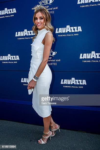 Rebecca Judd poses at the Lavazza Marquee on Derby Day at Flemington Racecourse on October 29 2016 in Melbourne Australia