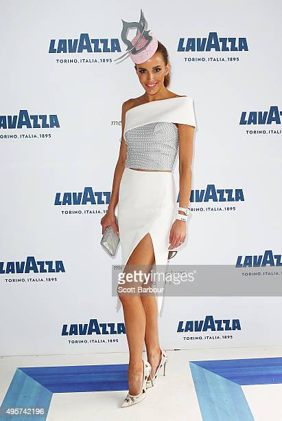 Rebecca Judd poses at the Lavazza Marquee on Oaks Day at Flemington Racecourse on November 5 2015 in Melbourne Australia
