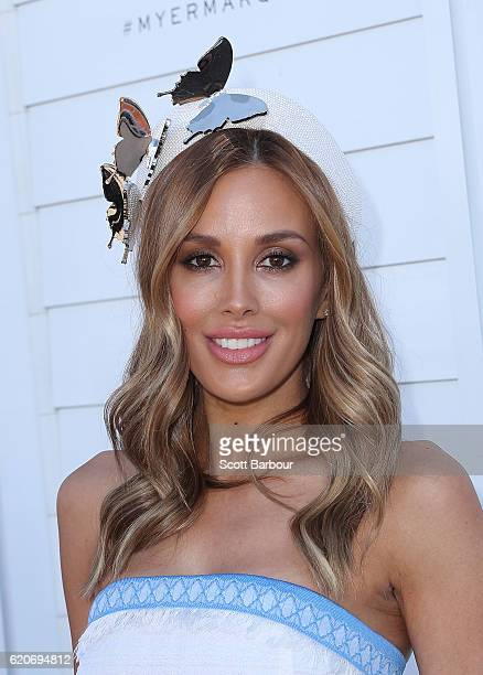 Rebecca Judd poses at the Myer Marquee on Oaks Day at Flemington Racecourse on November 3 2016 in Melbourne Australia
