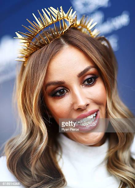 Rebecca Judd poses on Derby Day at Flemington Racecourse on October 29 2016 in Melbourne Australia