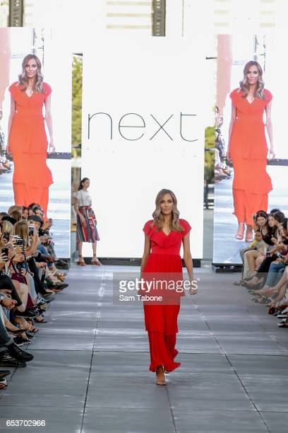 Rebecca Judd showcases designs during the VAMFF 2017 NEXT 'Under The Blade' runway show on March 16 2017 in Melbourne Australia