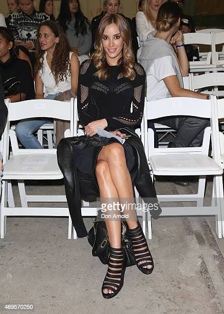 Rebecca Judd sits front row at the Bec Bridge show at MercedesBenz Fashion Week Australia 2015 at Carriageworks on April 13 2015 in Sydney Australia