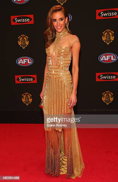Rebecca Judd the wife of Chris Judd of the Blues arrives at the 2015 Brownlow Medal at Crown Palladium on September 28 2015 in Melbourne Australia