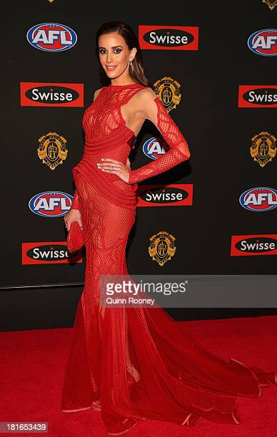 Rebecca Judd the wife of Chris Judd of the Blues poses ahead of the 2013 Brownlow Medal at Crown Palladium on September 23 2013 in Melbourne Australia