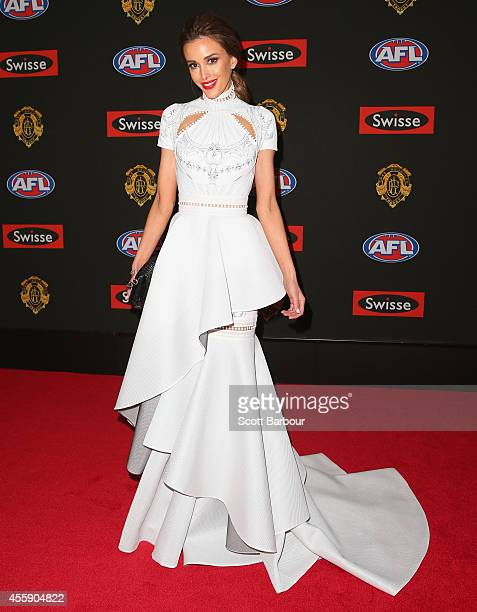 Rebecca Judd wife of Chris Judd of the Blues attends the 2014 Brownlow Medal at Crown Palladium on September 22 2014 in Melbourne Australia