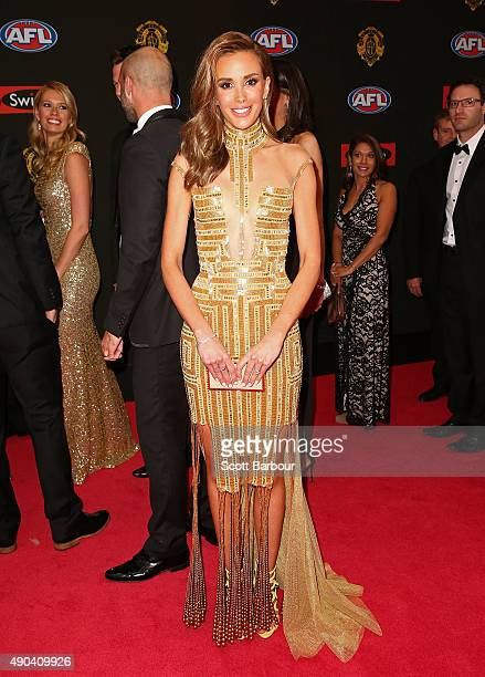 Rebecca Judd wife of Chris Judd of the Carlton Blues arrives at the 2015 Brownlow Medal at Crown Palladium on September 28 2015 in Melbourne Australia