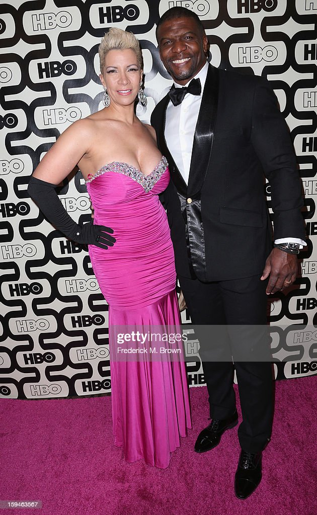 Rebecca King and <a gi-track='captionPersonalityLinkClicked' href=/galleries/search?phrase=Terry+Crews&family=editorial&specificpeople=569932 ng-click='$event.stopPropagation()'>Terry Crews</a> attends HBO's Post 2013 Golden Globe Awards Party held at Circa 55 Restaurant at the Beverly Hilton Hotel on January 13, 2013 in Beverly Hills, California.